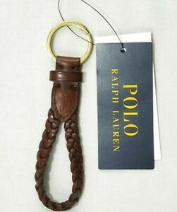 Polo Ralph Lauren Men Key Chain Brown Braided Pony Leather One Size New