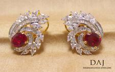 Cubic Zirconia Designer Ruby Crystal Stud Elegant CZ Earrings