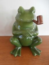 """Vintage Ceramic Smoking Frog Figurine Planter w/ Pipe    9"""" Tall  #3468"""