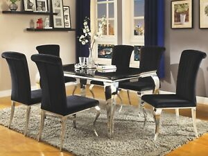 Modern Contemporary 5-Piece Glass Top Dining Set Stainless Steel Velvet Chairs