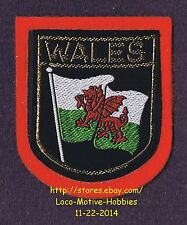 LMH PATCH Woven Badge  WALES Winged Red Dragon Flag ENGLAND UK Crest Green White