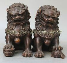 Chinese Bronze Fengshui Foo Fu Dog Guardion Phylacter Lion Ball Pair Statue
