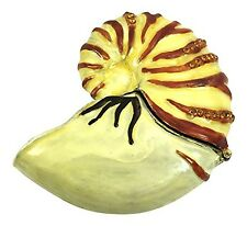 Enameled Nautilus Shell Trinket Box by Kubla Craft, Accented with Crystals, 2.75