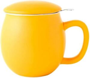 Porcelain Teacup with Infuser and Lid Matte Yellow