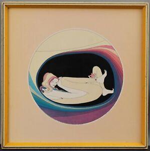 Authentic 1973 Signed JOHN LUKE EASTMAN Surreal Serigraph Print 70s Retro Woman