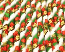 Traditional Christmas Paper Straws (Ø 6mm, 200mm) - Pack Qty 1-500 -  UK MADE