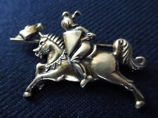 Vintage Napier Sterling Pin Brooch of Jousting Knight on a Horse 1940s