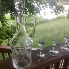 New listing Estate Find! Vtg Wine Decanter Set with 4 Wine Glasses Etched Gorgeous