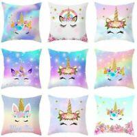 Unicorn Pillow Case Soft Polyester Sofa Cushion Cover Throw Kids Home Decor ZXCV