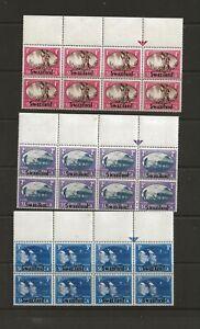 SWAZILAND (YO-104) 1945 VICTORY SG39-41 IN BLOCKS OF 8 FINE UNMOUNTED MINT