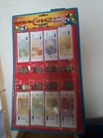 Blister juego de billetes y monedas de Euro falsas para mercado, cartas...