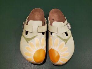 Birkenstock Birk's Closed Toe Green w/ SunFlower Mule Size 39/L8/M6 Style 250