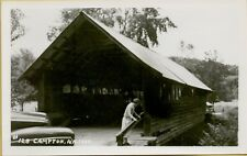 Woman on Wood Covered Bridge Campton NH RPPC Real Photo Postcard A36