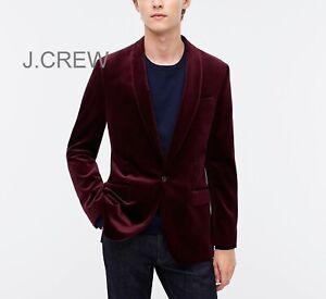 JCREW Ludlow velvet blazer red burgundy dinner jacket shawl collar slim 44L 42 L