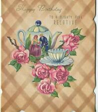 VINTAGE COLONIAL VICTORIAN TEA POT TEA CUP SAUCER PINK ROSES GREETING BDAY CARD