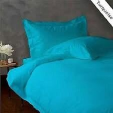 TURQUOISE SOLID KING SIZE BED SHEET SET 800 TC 100 PERCENT EGYPTIAN COTTON
