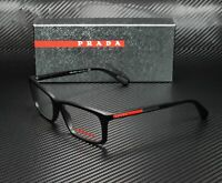 PRADA LINEA ROSSA PS 02CV 1BO1O1 Matte Black Demo Lens 55 mm Men's Eyeglasses