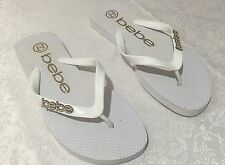 Bebe Size L White Gold Colour Rhinestone Jewelled Style Flip Flops Thongs