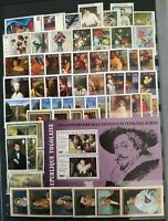 Worldwide Art Stamp Collection MNH - 15 Full Sets from 15 Different Countries
