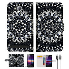 Black AZTEC TRIBAL Wallet TPU Case Cover For HUAWEI Y3 II 2 -- A005