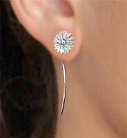 Long 925 Silver Ear Hook Dangle Drop Flower Earrings Women Wedding Jewelry