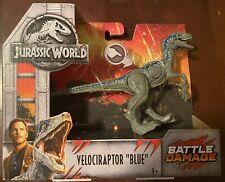 New In Box Jurassic World Battle Damage Velociraptor Blue Dinosaur Raptor