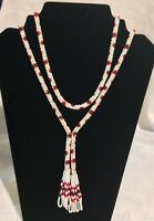 "VINTAGE Red and White Woven Beaded Necklace 28"" Long"