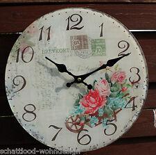 Wanduhr Glas Uhr Rose Nostalgie Stil rund Shabby Chic Landhaus Stil Glasuhr