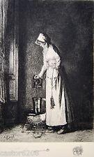 GRAVURE Joseph BAIL La Servante 26,5 x 17,7 cm Henri LEFORT