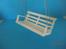 """DOLLHOUSE MINI 1"""" SCALE FRONT PORCH SWING, SIGNED, DATED"""