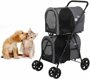 Double Pet Stroller for Small Medium Dogs & Cats with 2 Portable Travel Carrier