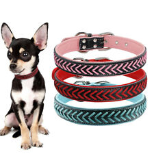 Braided Leather Pet Dog Collars Adjustable for Small Large Dogs French Bulldog