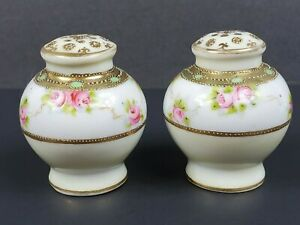 Antique/ Vintage Hand Painted Moriage Salt & Pepper Shakers Pink Roses Gold Trim