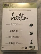 Stampin Up Hello Set Of 9 Wood Mounted Rubber Stamp Su Scrapbooking Birthday