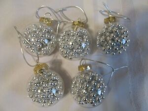 Set of 5  Clear with Silver Bead Glass Christmas Ornaments