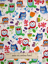 Owl Bird Animal Fabric ~ 100% Cotton By Yard ~ Timeless Treasures C1823 White