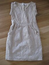 LADIES CUTE BROWN EMBROIDERED LINED SLEEVELESS COTTON DRESS BY SUNNY GIRL SIZ 10