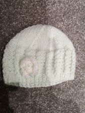 ccdbb5b3eed Pale Apple Green Hand Knitted Baby Beanie Age 6-12 Months