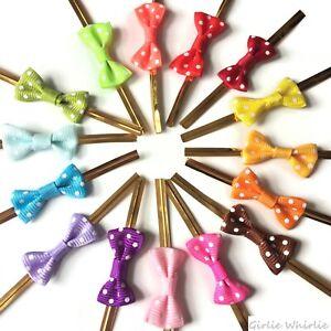 Craft Bows x15 Twist Tie Metallic Polka Dot Pre-Tied Ribbon Sweets Gifts Bags UK