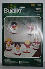 Vintage Bucilla Christmas Ornaments SEALED Carolers Jeweled Stitchery 6 #82012
