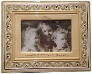 """Mother's Day Picture Frame Ceramic Ivory 8x10"""" GIFT BOX hold 4x6"""" picture MOM"""