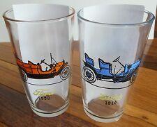 Hazel Atlas Antique Auto Drinking Glasses Ford Chevrolet Oakland Buick 1950s