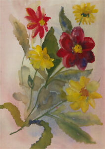 Anne Williams - 20th Century Watercolour, Spray of Flowers