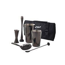Gun Metal Black Cocktail Bar Set 7 Pieces Carry Case Shaker Muddler Jigger Gift
