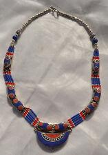 Tibetan Necklace,Boho ,Tribal Jewelry Lapis Lazuli Silver Plated,Ethnic Handmade