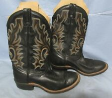 Canada Boulet Black Leather Ropers, Work, Cowboy Motorcycle Boots  7 1/2