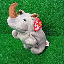 Ty Beanie Baby Spike The Rhinoceros Retired Rhino Plush Toy - MWMT - SHIPS FREE