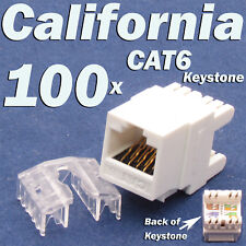 100 X LOT Keystone 8P8C CAT6 RJ45 Network 110 Style Socket Punch Down Jack White