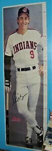 old Cleveland Indians poster Pete O'Brien growth chart , Chief Wahoo man cave !!