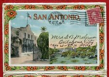 San Antonio Texas tx Alamo Plaza Mission MKT railroad depot postcard folder